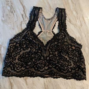 Torrid size 1 black nude lace racerback bralette